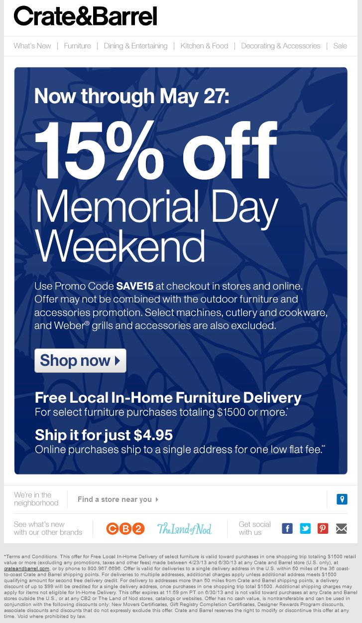 Crate And Barrel Coupons   Couponzonehq.com
