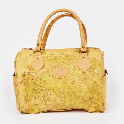 vtg 80s 90s ALLAN EDWARD ae ANTIQUE WORLD MAP print faux LEATHER HAND BAG purse $48.00