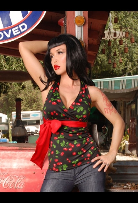 Holly Tie Halter Top in Black Cherry by Pinup Couture