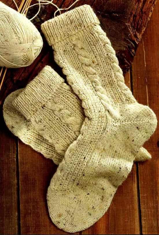 Ирландское вязание носков спицами 37