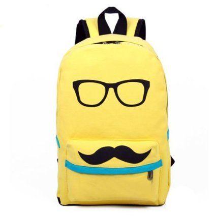 Mustache School Laptop Backpack Yellow