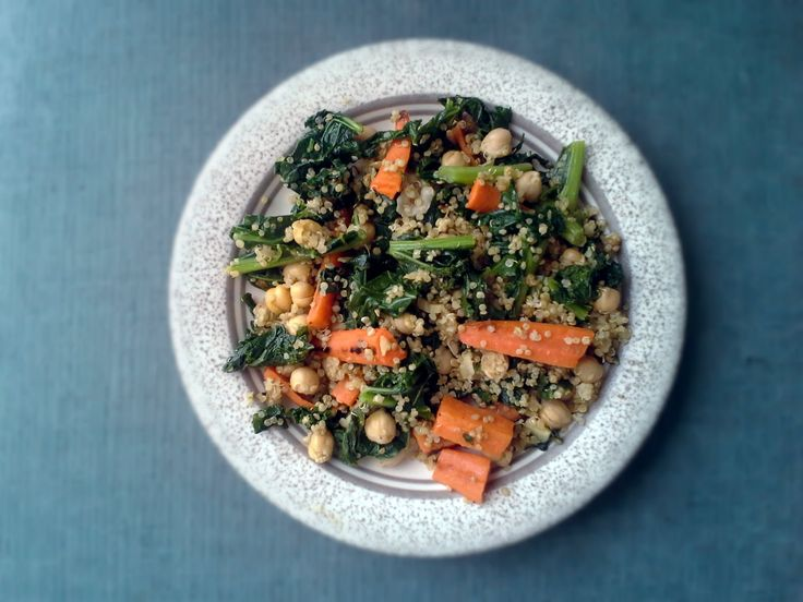 Roasted carrot, garlicky kale, chickpea, and quinoa salad with tahini ...