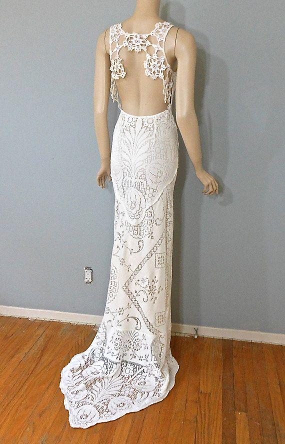 Wedding Dress Lace Cut Out Back : Vintage style boho wedding dress crochet lace