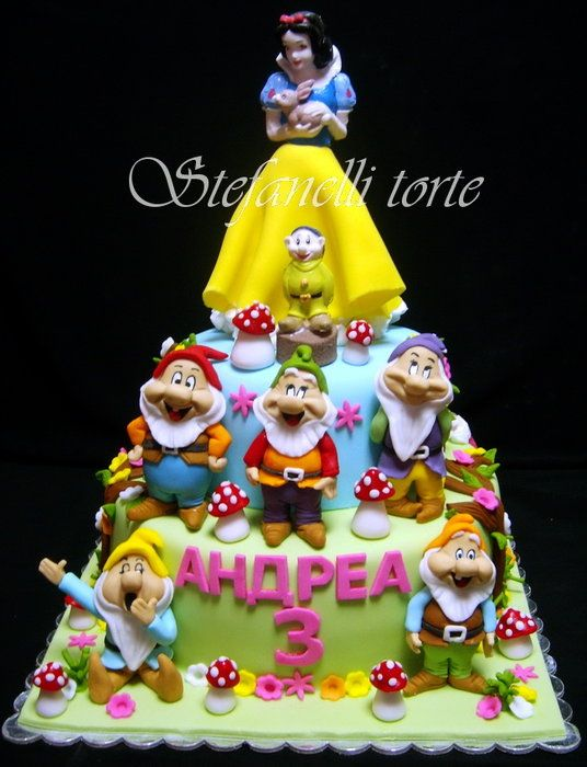 Snow white and seven dwarfs cake girl party birthday kids