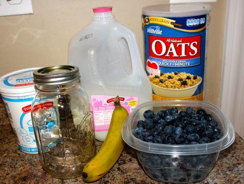 Blueberry Banana Overnight Oatmeal — .