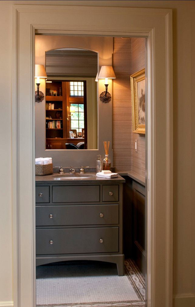 Masculine bathroom with grasscloth