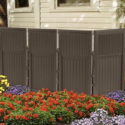 Suncast Outdoor Screen Enclosure Privacy Fence Resin Wicker