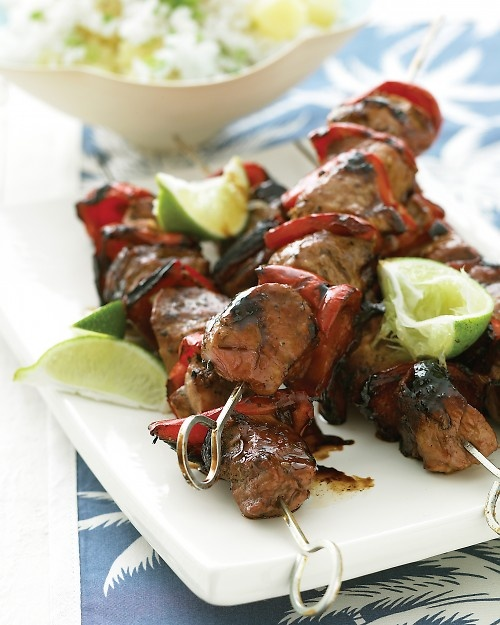 Pacific Pork Kebabs with Pineapple Rice | Recipe