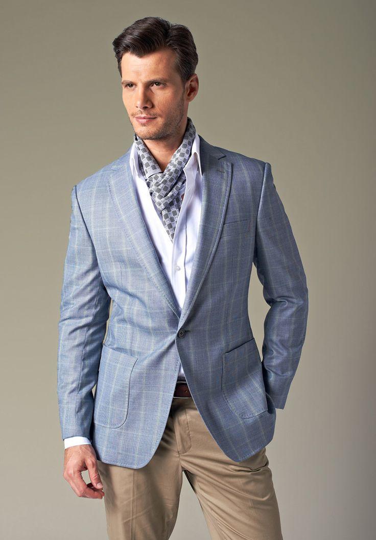 Light Blue One Button Blazer For Men | Visual ...