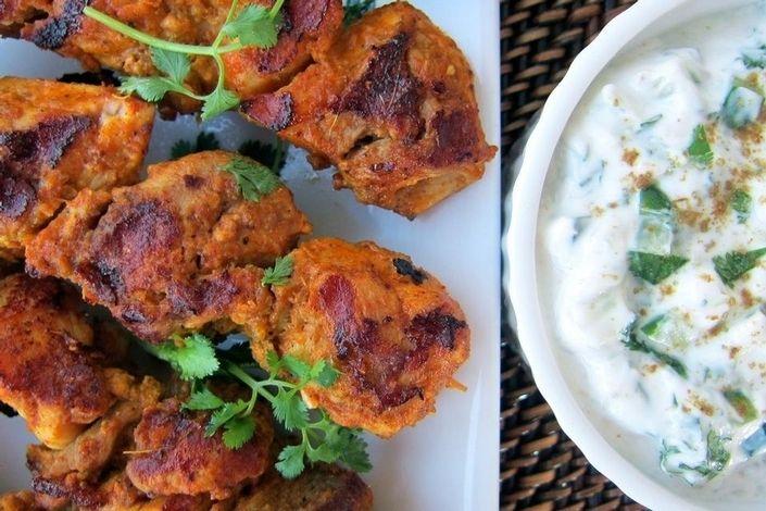 Tandoori Chicken Kabobs - Tandoori chicken kabobs with cucumber raita.