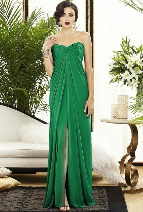 long kelly green bridesmaid dress wedding pinterest