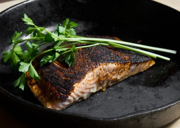 Extremely Simple Blackened Salmon with Homemade Spice Mix by thisismydinner:  Doug Bennett's Cajun Seasoning Mix via Seattle Times-    Makes ¼ cup    11/2 tablespoons paprika    1 tablespoon garlic powder    1 tablespoon onion powder    1 tablespoon ground dried thyme    1 teaspoon ground black pepper    1 teaspoon cayenne pepper    1 teaspoon dried basil    1 teaspoon dried oregano  Salmon