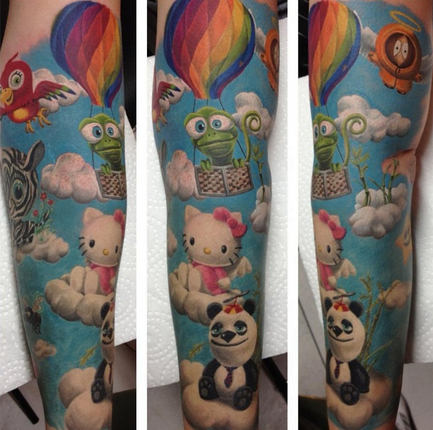 hello kitty sleeve tattoos and piercings pinterest