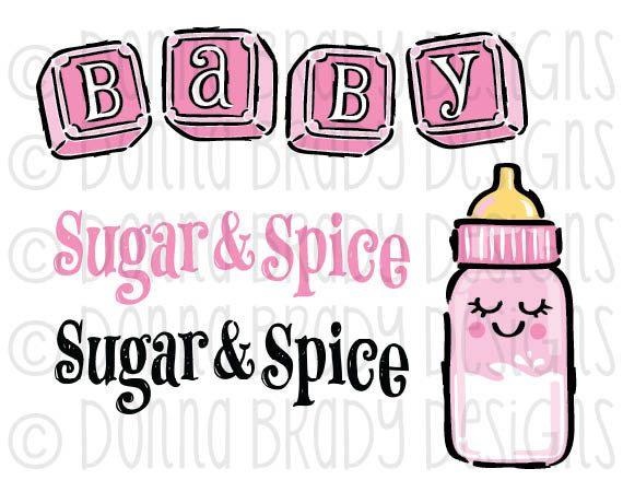 Baby Girl Teddy Bear Pink Blocks Baby Bottle DIGITAL CLIP ART by ...