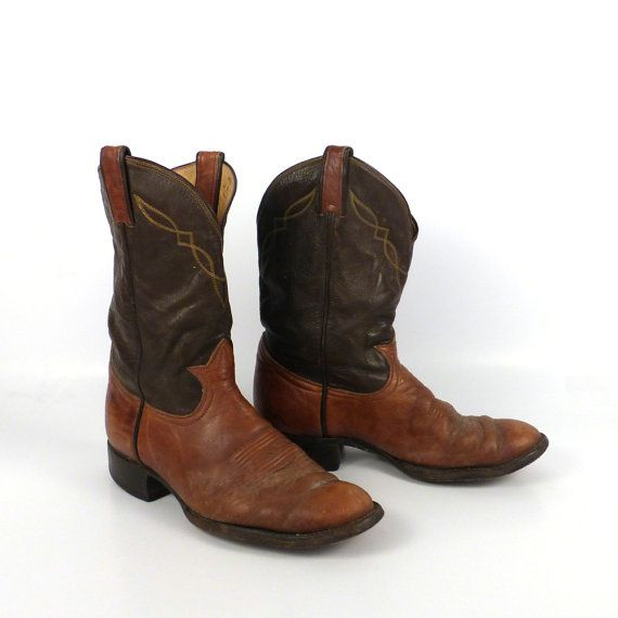 Cowboy boots vintage 1980s tony lama two tone roper distressed