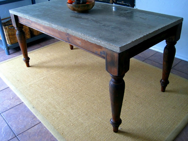 Concrete table top for the hollow pinterest for Concrete kitchen table