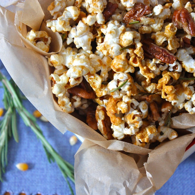 Get Off Your Tush and Cook: Maple-Rosemary Popcorn with Pecans