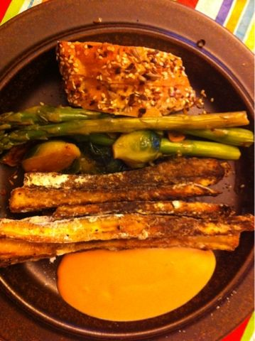 roasted veggies with baked breaded eggplant sticks and fry sauce ...