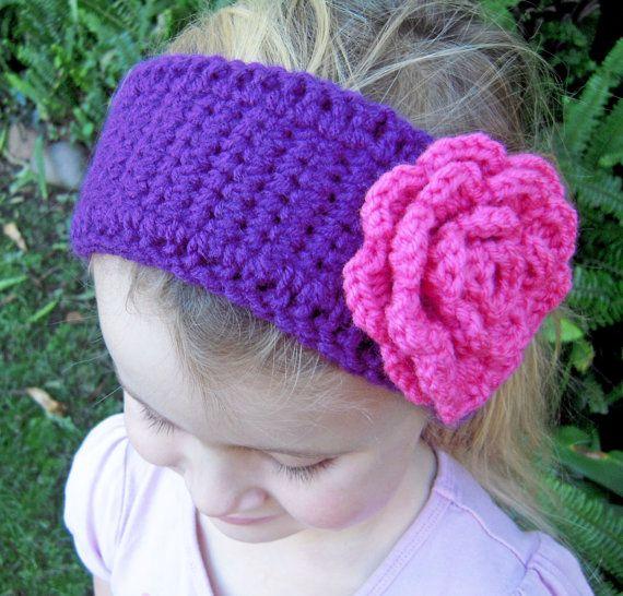 Crochet Patterns Head Warmers : Purple head warmer pink flower girls crochet headband on Etsy, $18.00