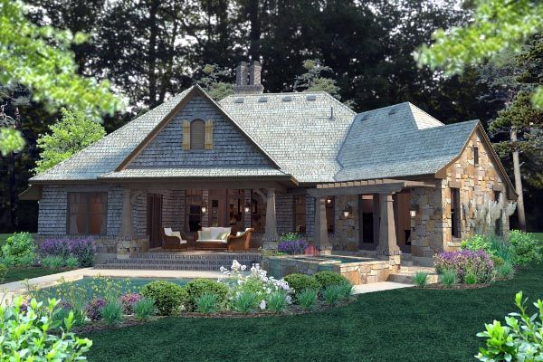 Cottage craftsman french country house plan 75134 for Country craftsman home plans