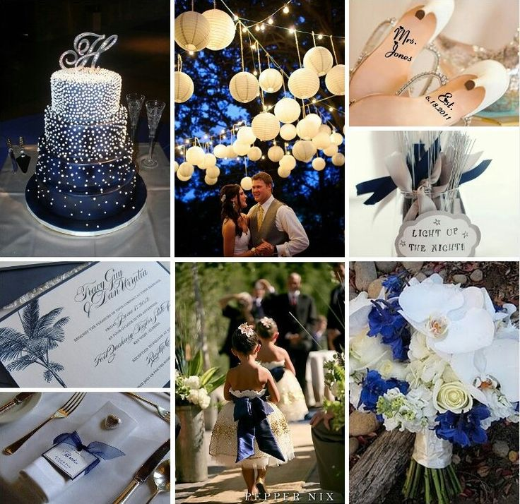 Blue White Gold Wedding Theme Midnight Silver And The Colors Of