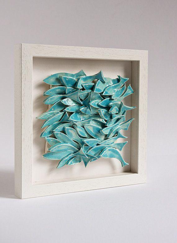 Ceramic tile nautical wall art school of fish white and for School of fish wall art