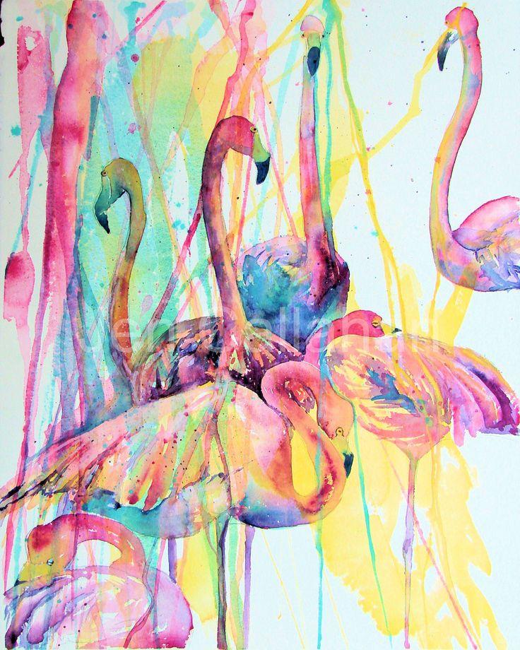 Flamingo painting art tropical flamingos art poster print for Flamingo dekoration