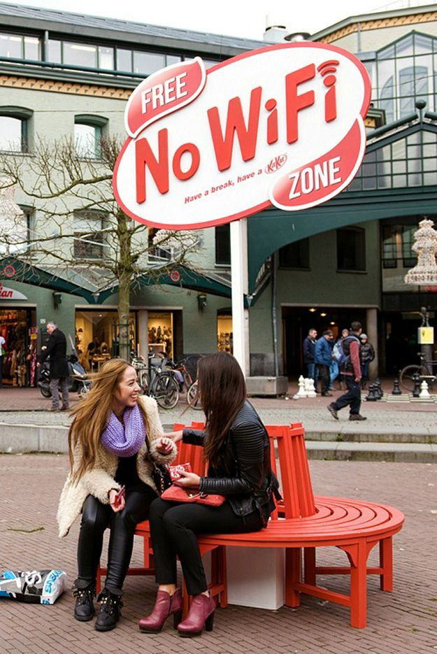 "Too much screen time? Kit-Kat is helpfully marking ""no WiFi"" zones in Amsterdam to help you disconnect."