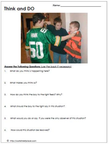 Bullying Worksheet | Helping Kids Learn Well | Pinterest