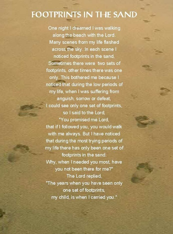 footprints in the sand | Prayers&Quotes | Pinterest