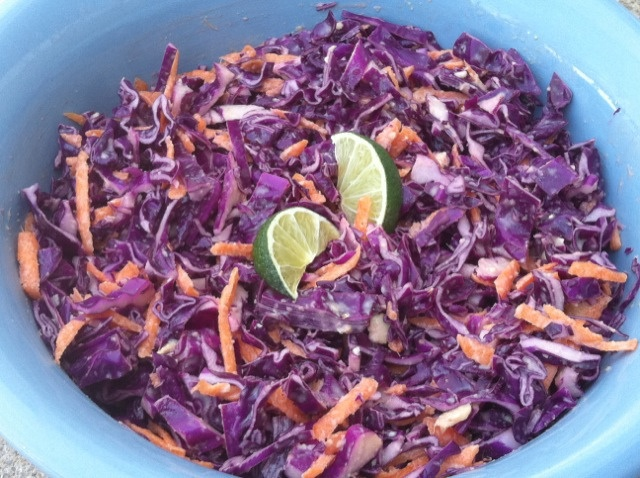 Peanut Lime Coleslaw~how pretty is this?! and purple cabbage is better ...