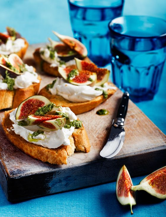 French goats' cheese, fig and pesto crostini, from http://www ...