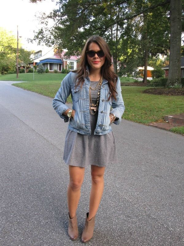 grey dress, jean jacket, booties