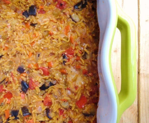 Brittany Cooks: Baked Orzo with Eggplant and Mozzarella