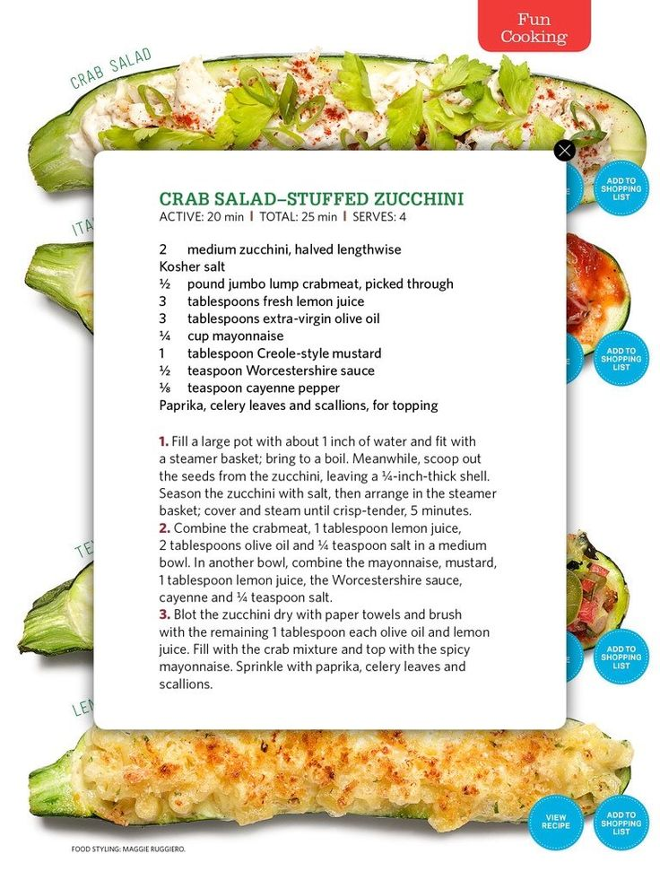 Crab Salad-Stuffed Zucchini | Sides and Salads | Pinterest