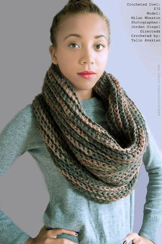 Extra Large Ribbed Cozy Cowl Scarf by AddysCozyCowls on Etsy, $70.00