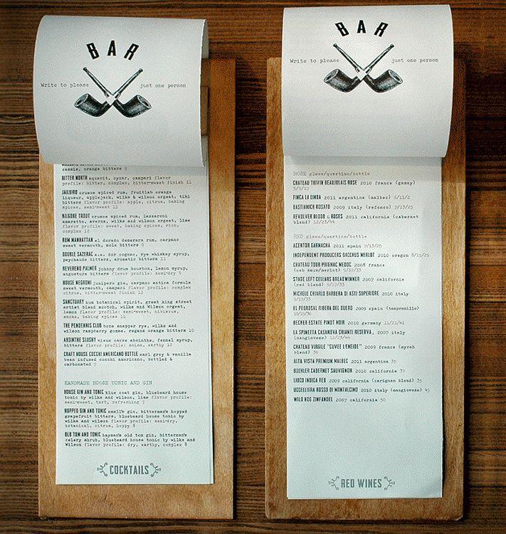 Clipboard style wine list.