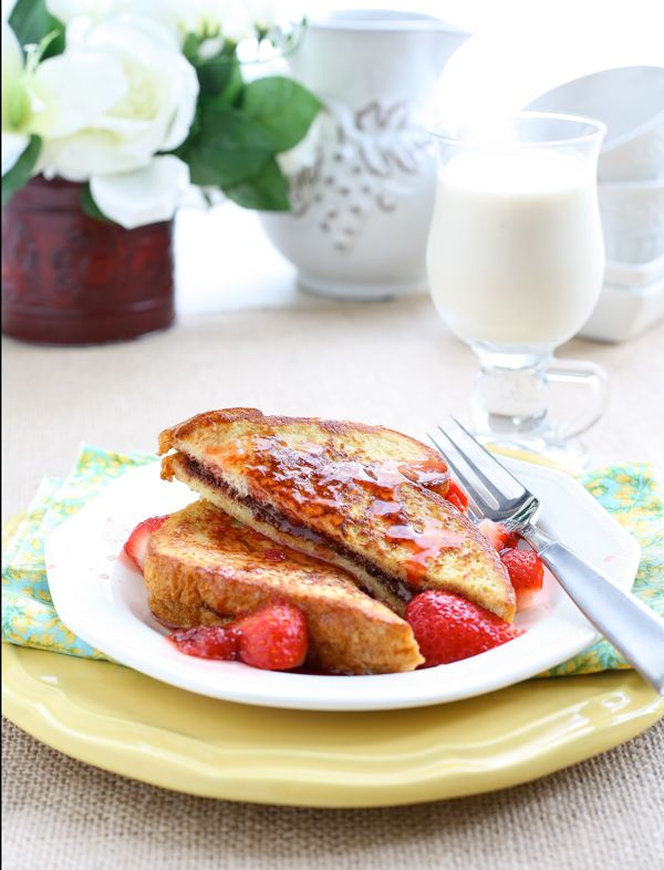 Nutella stuffed french toast with maple strawberry syrup - breakfast ...