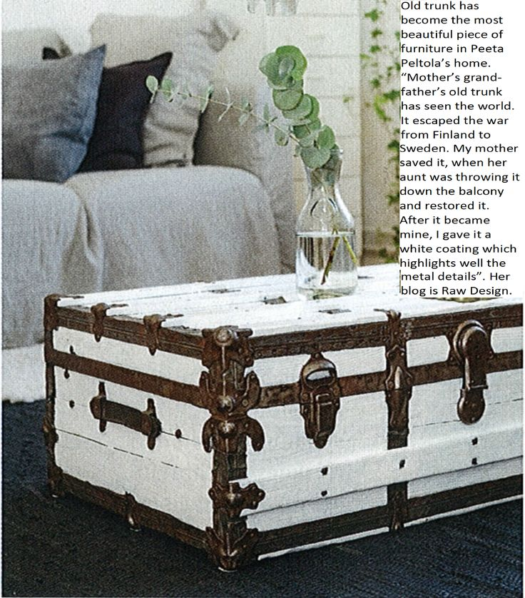 Diy paint the old trunk white recycled crafts pinterest - How to paint an old trunk ...