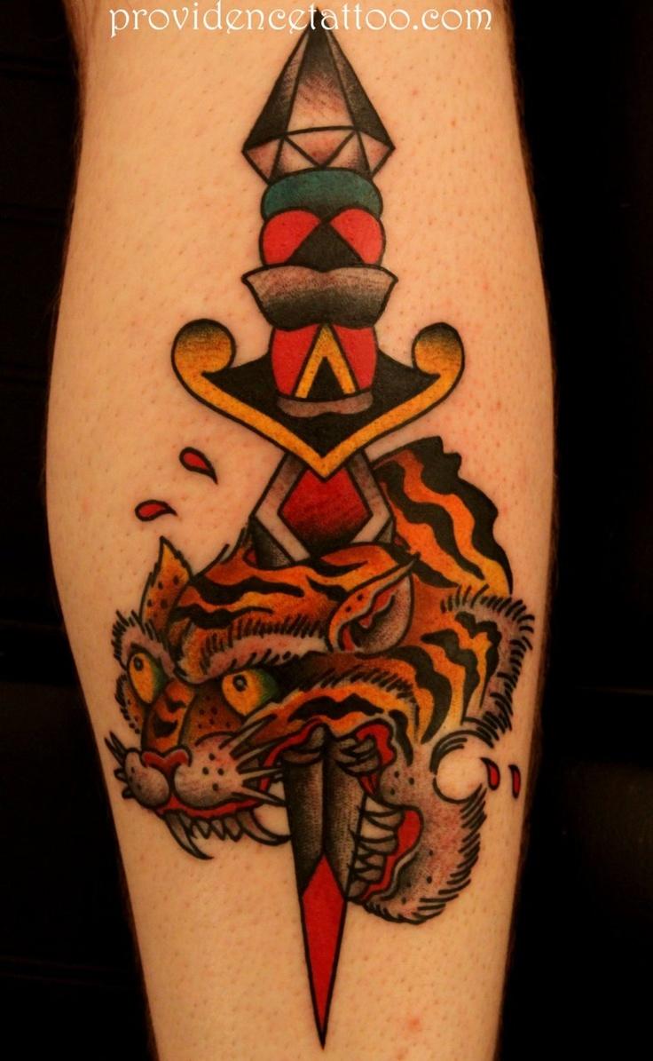 Traditional Tiger Head Dagger Tattoo Knife stabbing tiger head