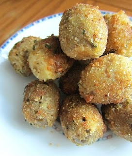 fried stuffed green olives with goat cheese, mascarpone, thyme and ...