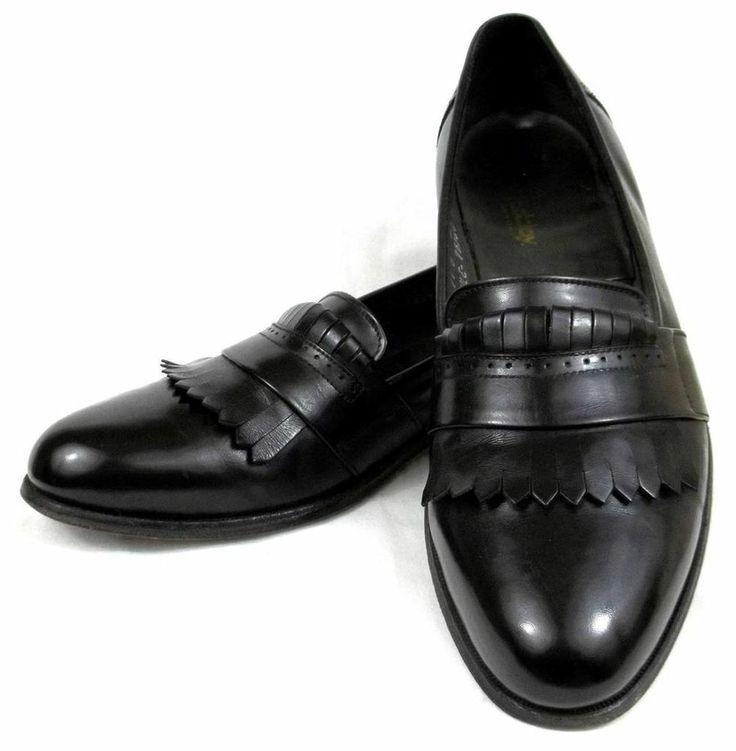 footjoy black leather slip on dress shoes usa mens size 11 b