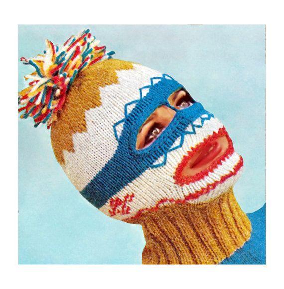 Ladies Balaclava Knitting Pattern : Vintage Knitting Pattern 1960s Ski Mask Balaclava Dickey Helmet Mens
