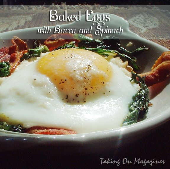... Spinach, bacon and egg with a dash of whipping cream in a dish, baked