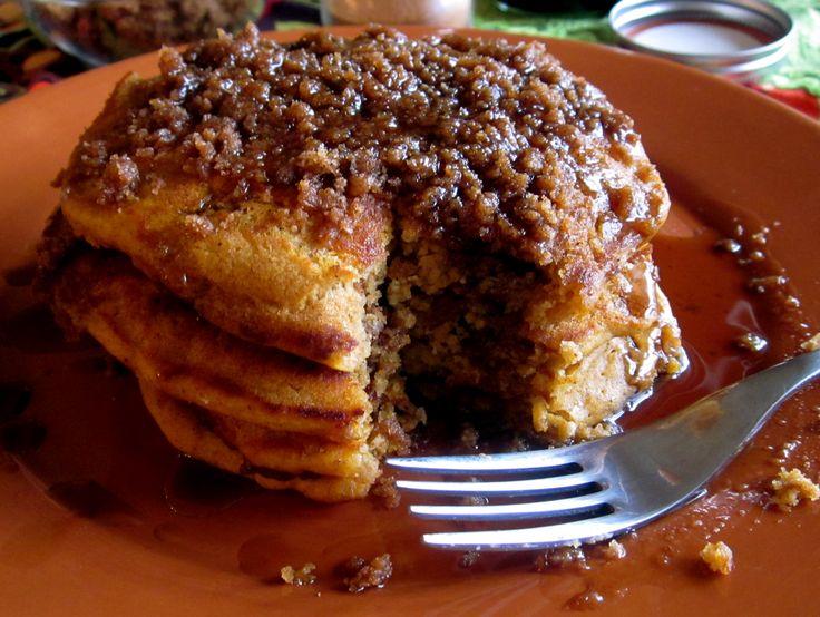 Pumpkin Cinnamon Streusel Pancakes - now there's breakfast!
