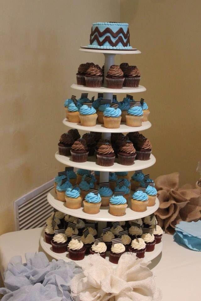 Baby shower ideas - cupcake tiers Baby Xavier Pinterest