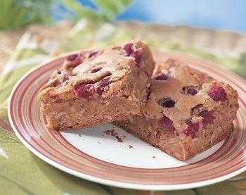 Raspberry-Pecan Blondies Recipe at Epicurious.com
