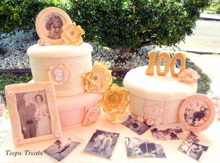 100th Birthday Party Cakes & Milestone 100th Birthday Table Decoration Ideas Photograph |