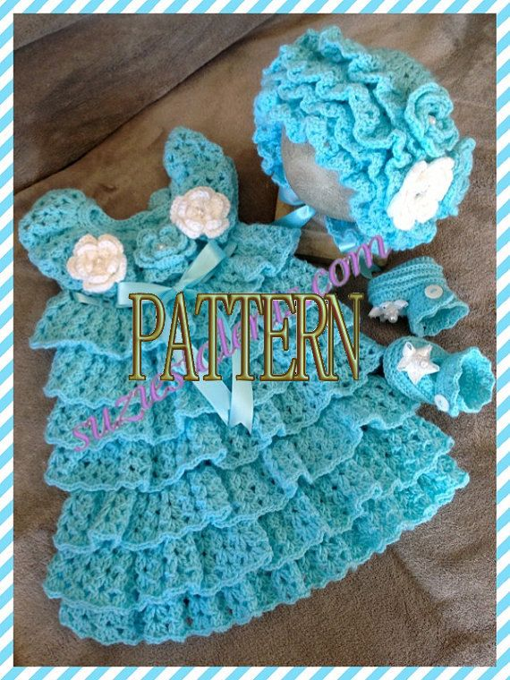 Crochet Ruffled Baby Dress Pattern : PATTERN PT053- Baby Ruffle Dress Set, Crochet Baby Dress ...