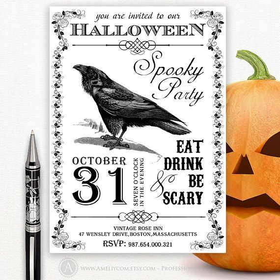 Custom printable halloween party invitation 5x7card for Vintage halloween party invitations